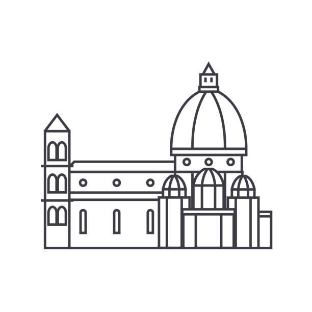illustrazioni stock, clip art, cartoni animati e icone di tendenza di italy, temple, florence cathedral vector line icon, sign, illustration on background, editable strokes - firenze
