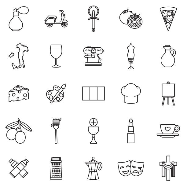 Italy Thin Line Outline Icon Set A group of 25 black and white thin line icons. File is built in the CMYK color space for optimal printing, with 100% black and white swatches. Icons are grouped and easy to isolate. grater utensil stock illustrations