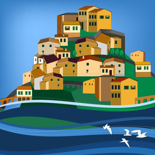 Italy town landscape Vector illustration of abstract town landscape calabria stock illustrations