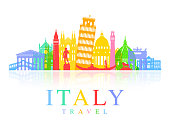 Italy Travel Landmarks Vector