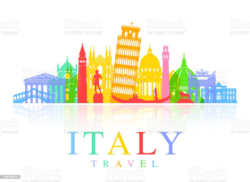 Italy Travel Landmarks Vector vector art illustration