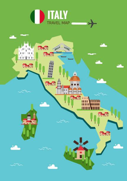 illustrazioni stock, clip art, cartoni animati e icone di tendenza di italy travel map, italian colosseum, milan, venice. sicilia and - sardegna