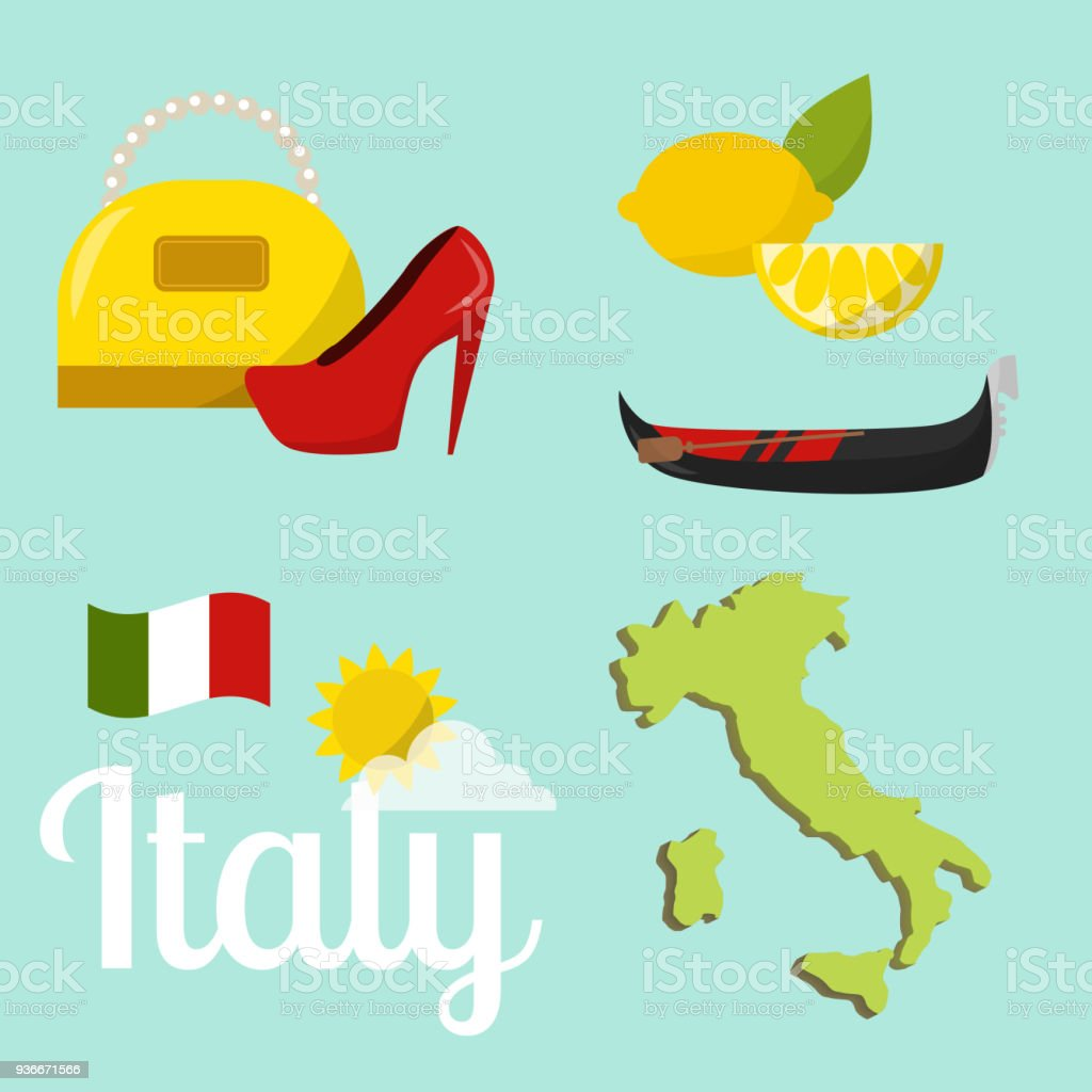 italy travel map vector attraction tourist symbols sightseeing world