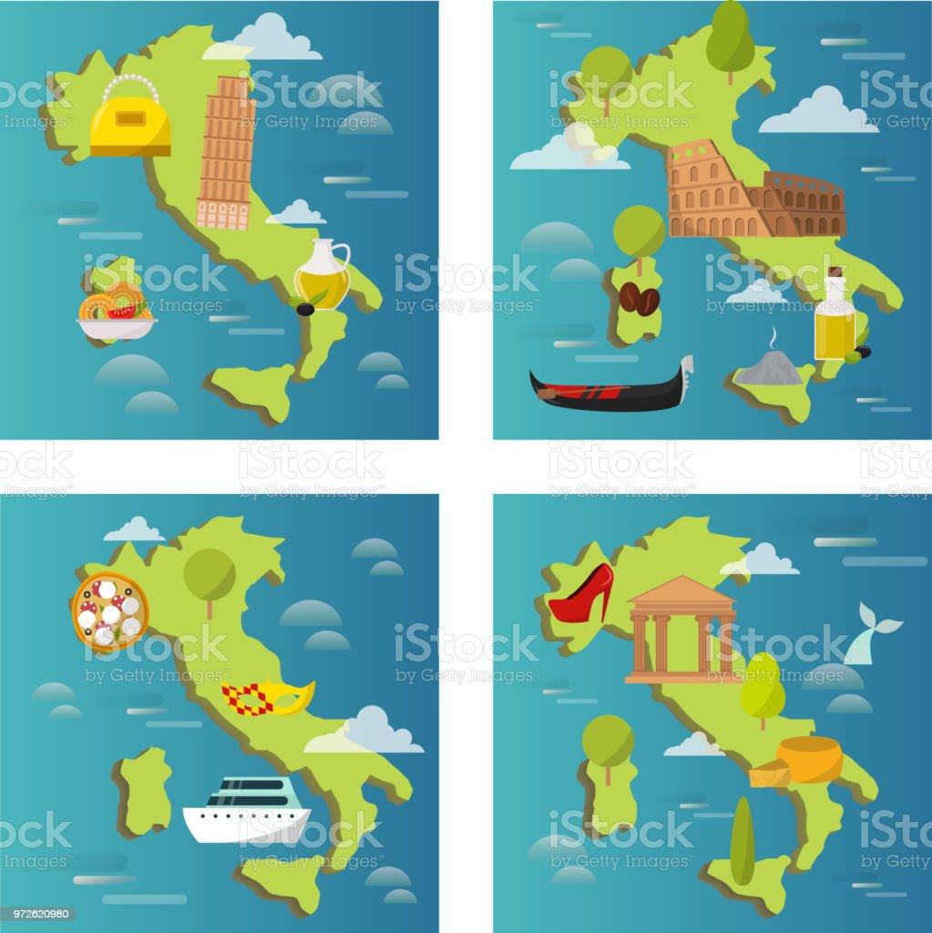 Italie Voyage Vector Attraction Touristique Symboles Sur Les Cartes Visite Illustration Dlments Monde Architecture