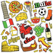 Italy Travel Scrapbook Stickers, Patches, Badges for Prints with Pizza, Venetian Mask, Architecture and Italian Elements. Comic Style Vector Doodle