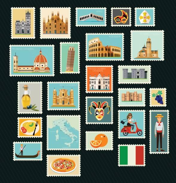 illustrazioni stock, clip art, cartoni animati e icone di tendenza di italy travel stamps. - palermo città