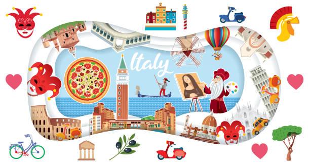 Italy Travel Vector Italy Travel reggio calabria stock illustrations