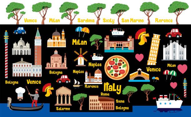 illustrazioni stock, clip art, cartoni animati e icone di tendenza di italy travel - milan fiorentina