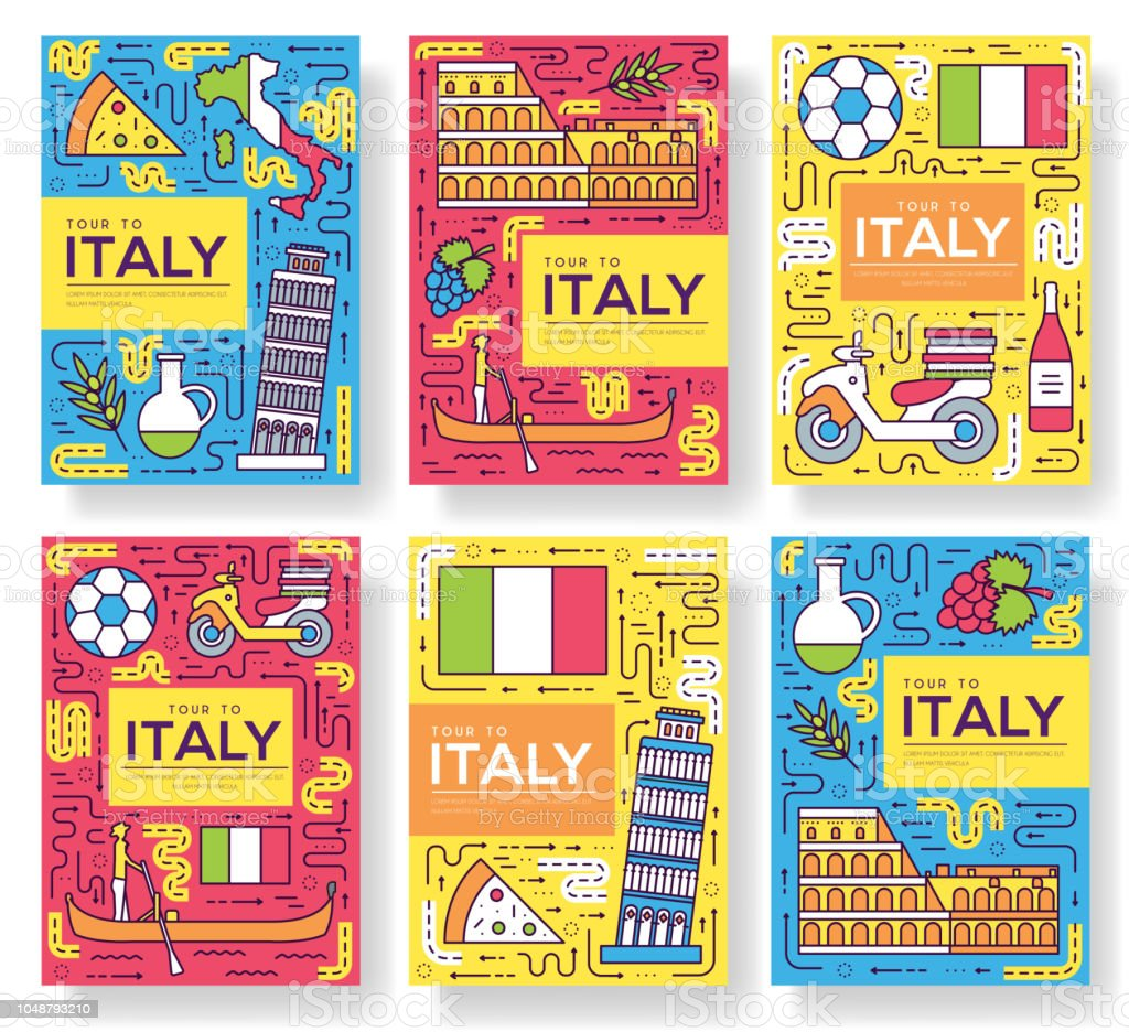 Italy Vector Brochure Cards Thin Line Set Country Travel