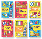 Italy vector brochure cards thin line set. Country travel template of flyer, magazines, posters, book cover, banners. Layout culture monument outline illustrations modern pages