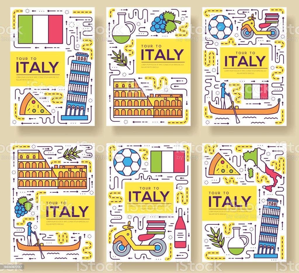 Italien Vektor Broschüre Karten Dünne Linie Set Land Reisen Vorlage ...