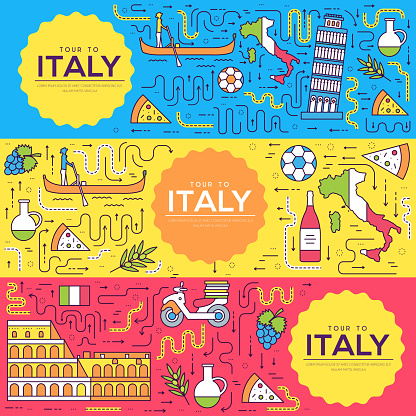 Italy vector brochure cards thin line set. Country travel template of flyear, magazines, posters, book cover, banners. Layout culture monument outline illustrations modern pages