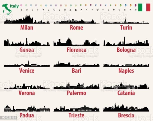 Italy Vector Cities Skylines - Immagini vettoriali stock e altre immagini di Architettura