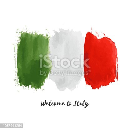 Italy vector watercolor national country flag icon. Hand drawn illustration with dry brush stains, strokes, spots isolated on white background. Painted grunge style texture for posters, banner design