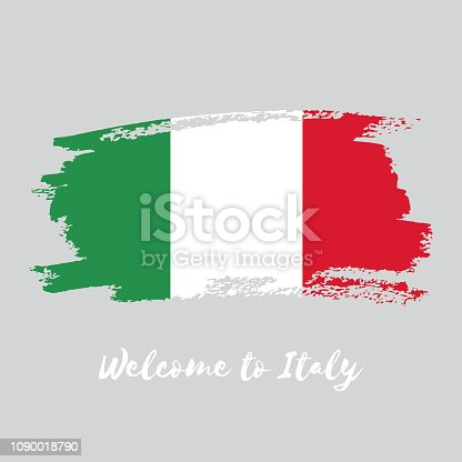 Italy vector watercolor national country flag icon. Hand drawn illustration with dry brush stains, strokes, spots isolated on gray background. Painted grunge style texture for posters, banner design.