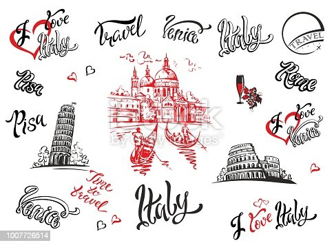 Italy. Venice, Rome, Pisa . Set of elements for design. Cathedral. Coliseum. tower of Pisa. sketches Lettering Gondolas Grape Wine Vector illustration
