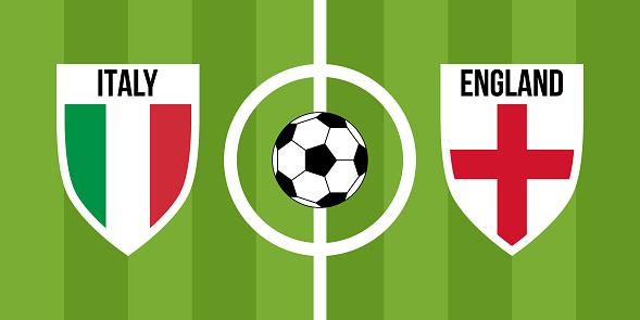 italy vs england, teams shield shaped national flags