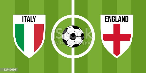 istock italy vs england, teams shield shaped national flags 1327456361