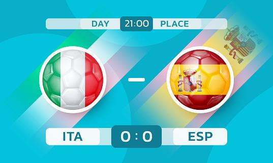 Italy vs Spain match. European Football Championship