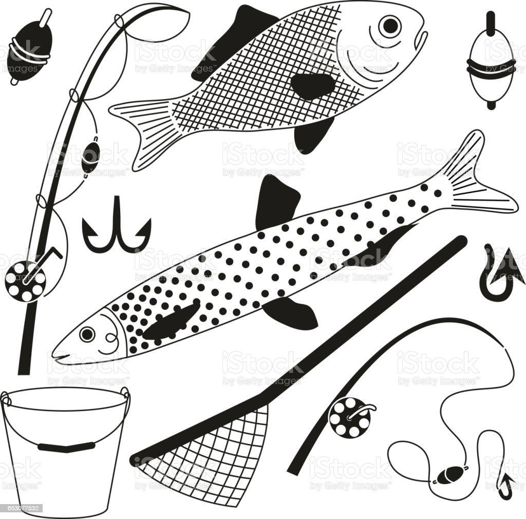 Artikel zum Angeln und einen Fisch fangen – Vektorgrafik