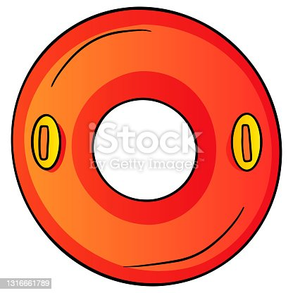istock Items for swimming circle inflatable with handles red in cartoon style 1316661789