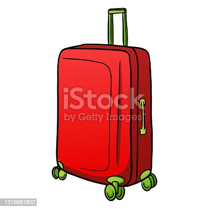 istock Items for transport red suitcase on wheels in cartoon style 1316661802