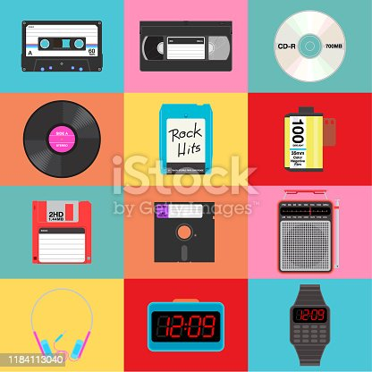 A set of 12 retro items on colorful background.