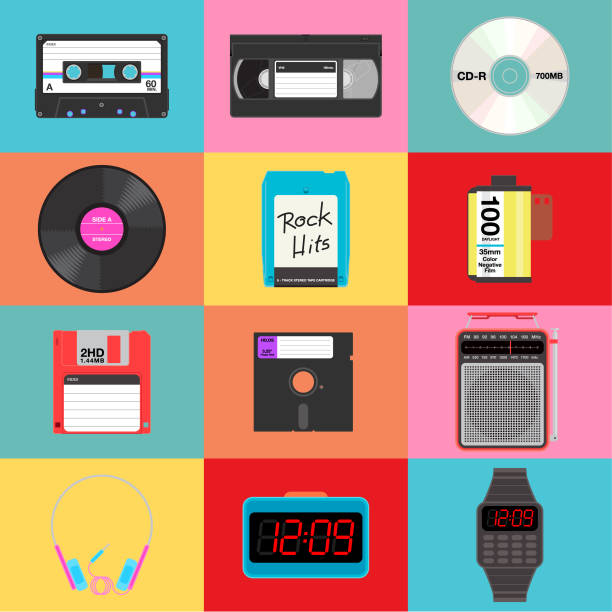 items from yesteryears vector art illustration