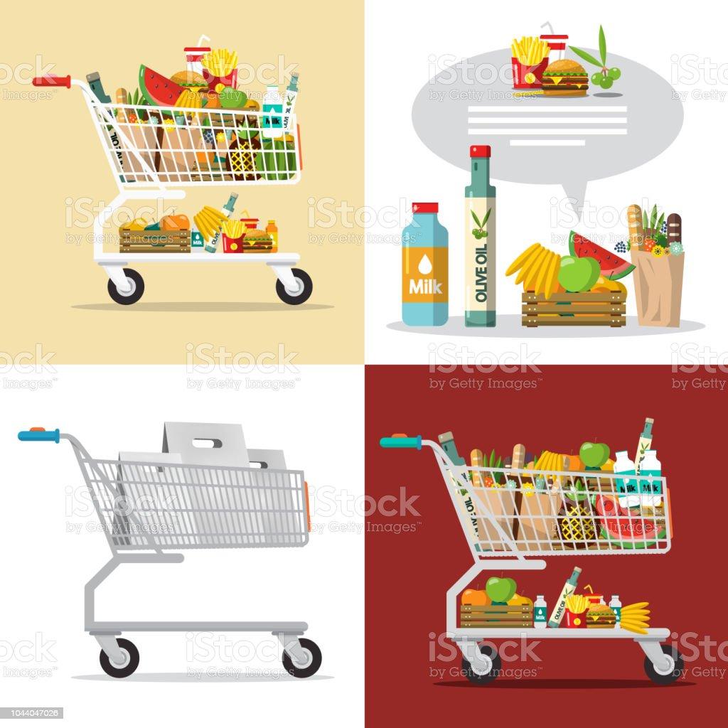Items in Shopping Cart vector art illustration