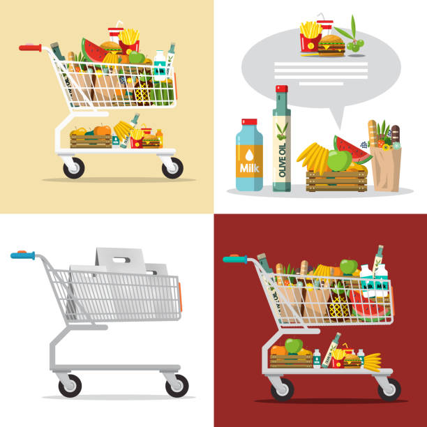 Items in Shopping Cart Food and Drinks in Shopping Cart. Vector Shopping Center Goods Illustration. cart stock illustrations