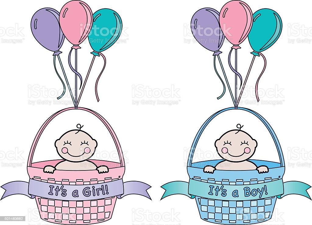 It's a Baby Announcement vector art illustration