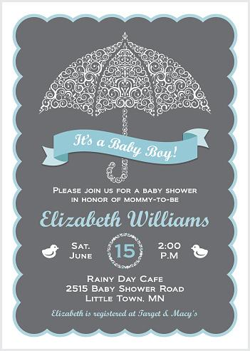 It's a Baby Boy Shower Invitation with Umbrella