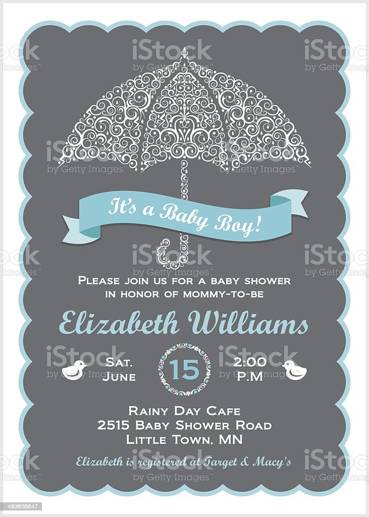 It's a Baby Boy Shower Invitation with Umbrella vector art illustration
