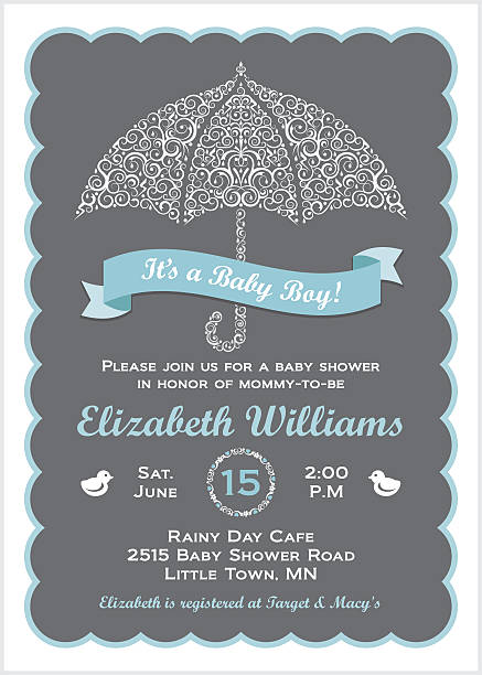 it's a baby boy shower invitation with umbrella - baby shower stock illustrations, clip art, cartoons, & icons