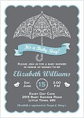 It's a Baby Boy Shower Invitation with Umbrella