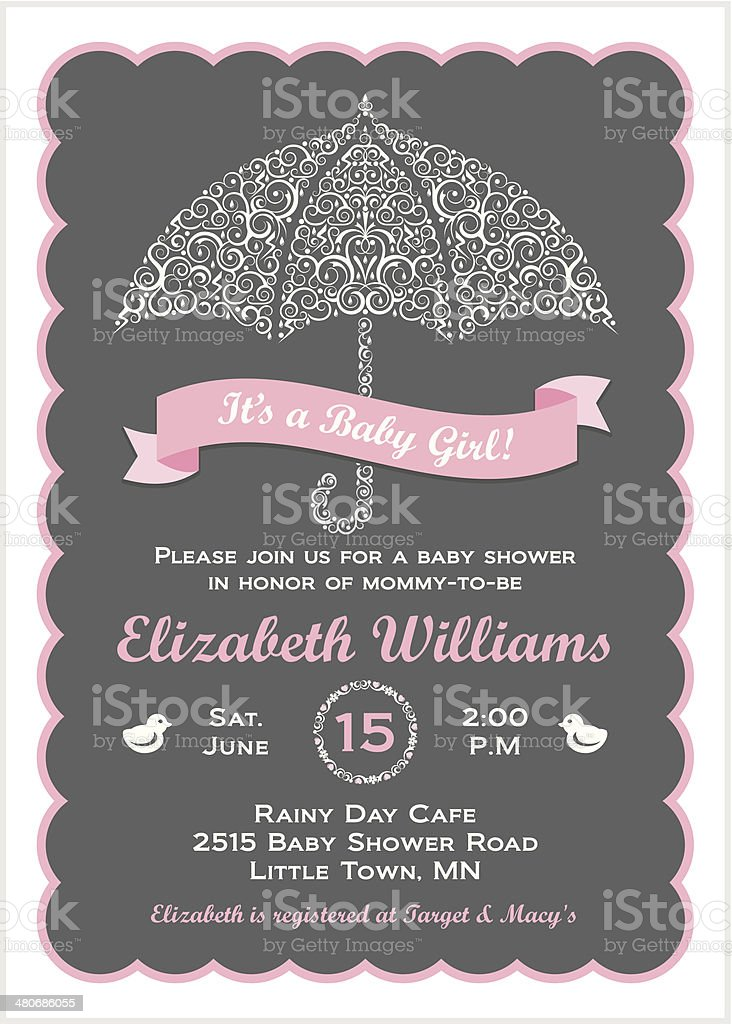 It's a Baby Girl Shower Invitation with Umbrella vector art illustration