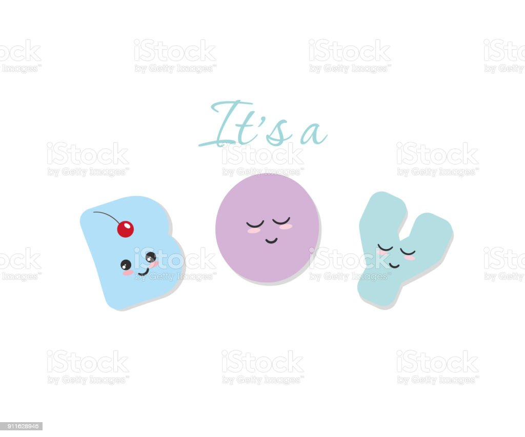 Its A Boy Baby Shower Kawaii Bold Colorful Letters Cute Stickers