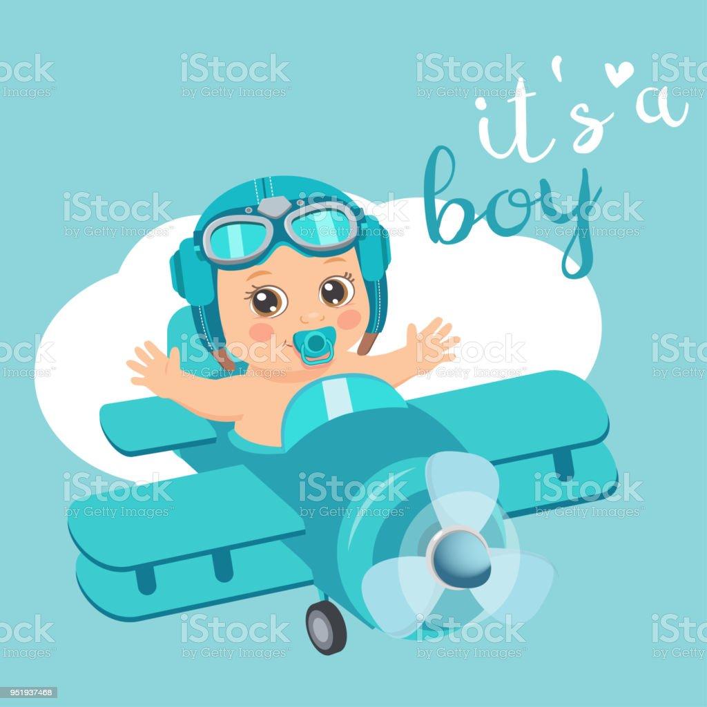 Es ist eine junge schöne Vektor Card niedlich Flugzeug mit Ankunft junge Flieger. - Lizenzfrei Abenteuer Vektorgrafik