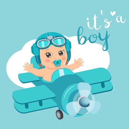 Es Ist Eine Junge Schöne Vektor Card Niedlich Flugzeug Mit Ankunft Junge Flieger Stock Vektor Art und mehr Bilder von Abenteuer