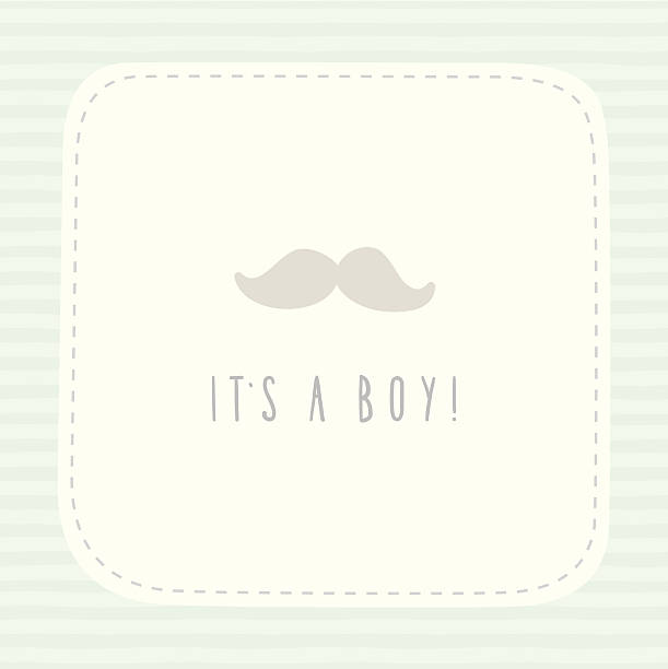 Its A Boy Birthday Card With Mustache Stock Vector Art 460420689