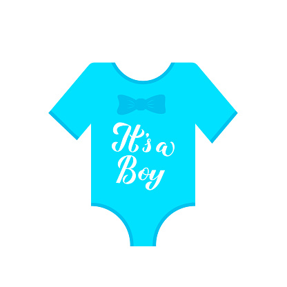 Its a boy calligraphy hand lettering on blue baby onesie. Gender reveal sign. Baby shower decorations. Vector template for invitation, greeting card, banner, typography poster, label, etc