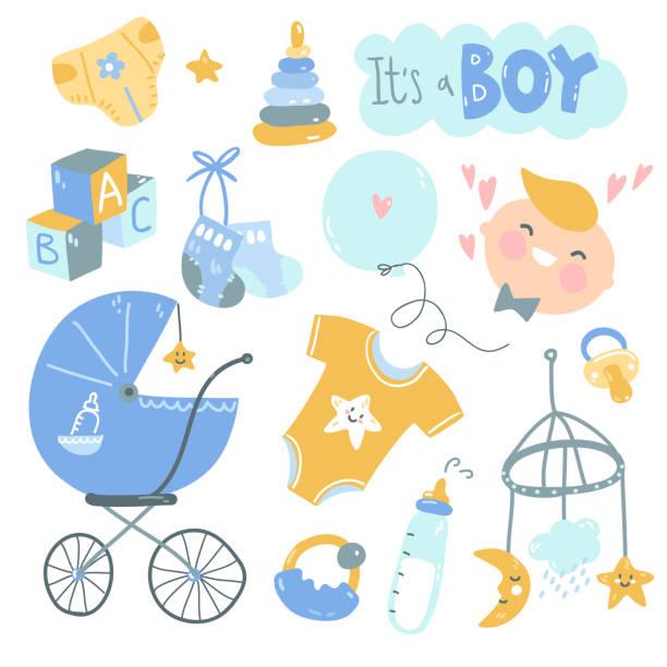 C'est un jeu de griffonnage de garçon. Soins bleus et jaunes pour bébés, alimentation, vêtements, jouets, soins de santé, accessoires. - Illustration vectorielle