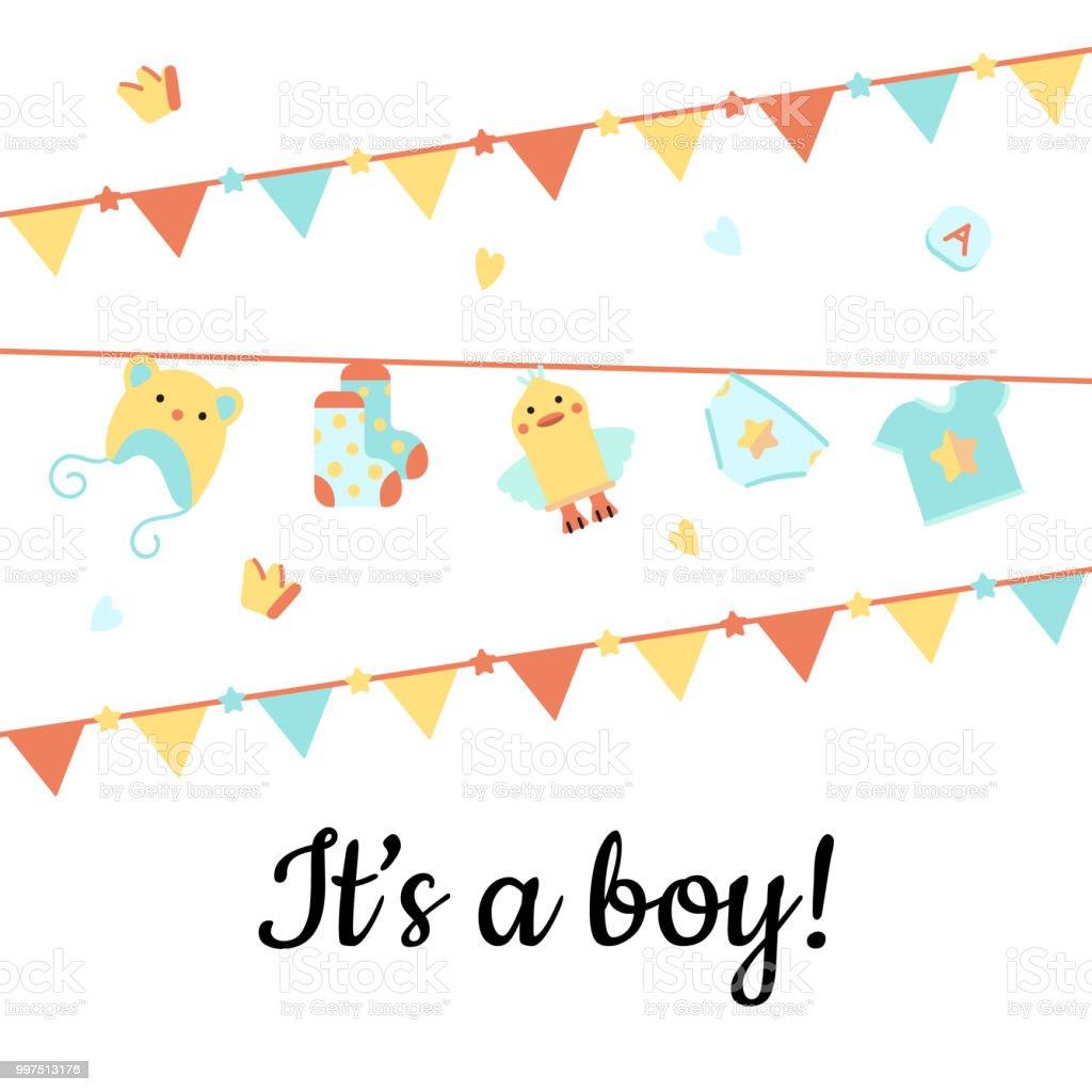 It's a boy! Greeting card. vector art illustration