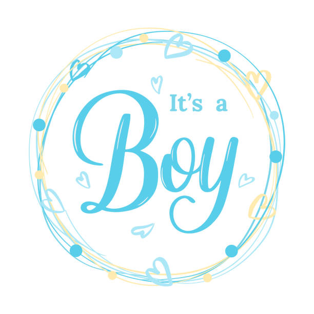 It's a Boy modern lettering phrase in wreath, hearts. Cute vector invitation for a wonderful event. Kids badge tag icon. Inspirational quote card invitation banner, feminine calligraphy background. vector illustration baby boys stock illustrations