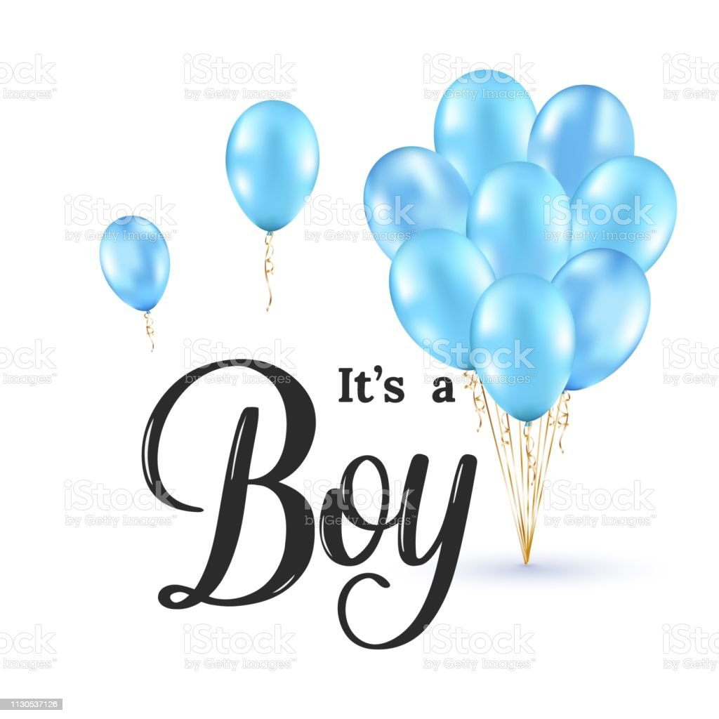 Its A Boy Modern Lettering Phrase With Realistic Glossy Blue Ballons