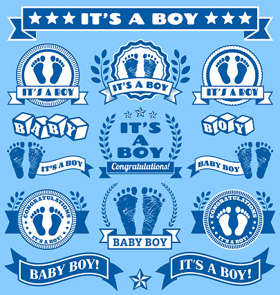 It's a Boy Newborn Baby Footprints Commemoration Blue Badge Collection