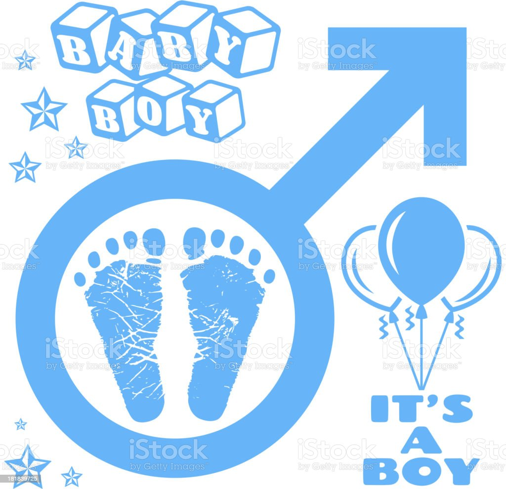 It's a Boy Newborn Baby Footprints Commemoration vector art illustration