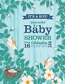 It's a Boy Wild Roses Baby Shower Invitation