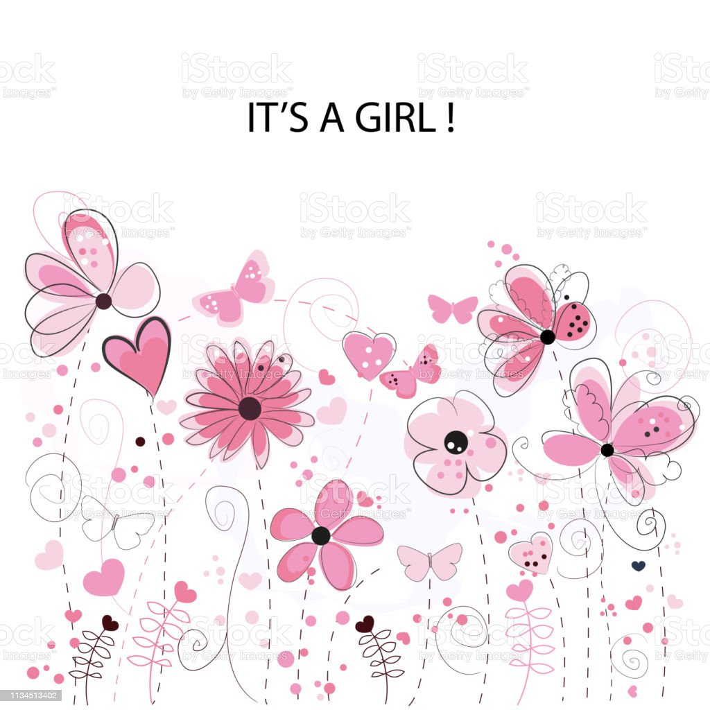 Its A Girl Baby Girl Baby Shower Greeting Card Floral Greeting Card With Pink Decorative Abstract Spring Flowers Stock Illustration Download Image Now Istock