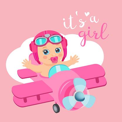 Es Ist Ein Mädchen Schöne Vektor Card Niedliche Flugzeug Mit Ankunft Mädchen Aviator Stock Vektor Art und mehr Bilder von Abenteuer